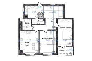 ЖК Престижний: планування 2-кімнатної квартири 91.47 м²