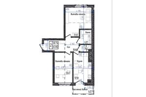 ЖК Престижний: планування 2-кімнатної квартири 63.82 м²