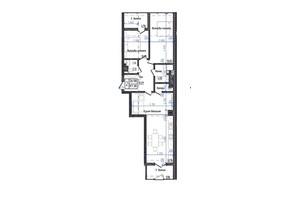 ЖК Престижний: планування 2-кімнатної квартири 87.38 м²