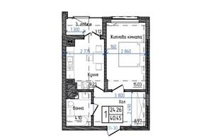 ЖК Престижний: планування 1-кімнатної квартири 40.45 м²