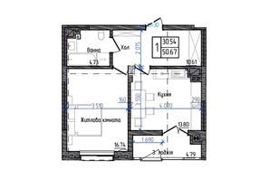ЖК Престижний: планування 1-кімнатної квартири 50.67 м²