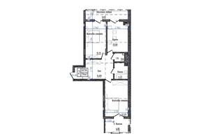 ЖК Престижний: планування 2-кімнатної квартири 79.67 м²