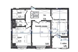 ЖК Престижний: планування 2-кімнатної квартири 69.05 м²