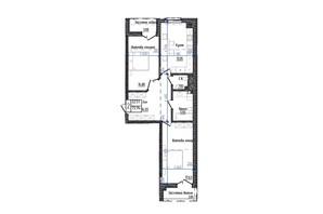 ЖК Престижний: планування 2-кімнатної квартири 75.94 м²