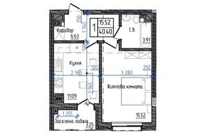 ЖК Престижний: планування 1-кімнатної квартири 40.4 м²