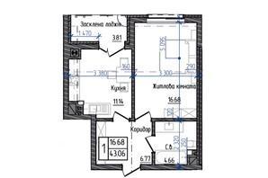 ЖК Престижний: планування 1-кімнатної квартири 43.06 м²