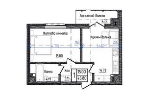 ЖК Престижний: планування 1-кімнатної квартири 43.8 м²