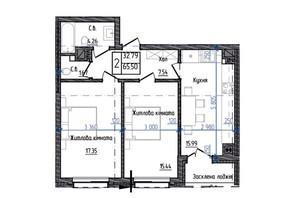 ЖК Престижний: планування 2-кімнатної квартири 65.5 м²