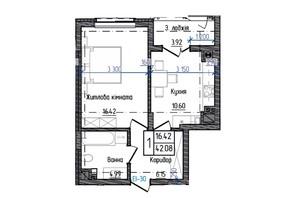 ЖК Престижний: планування 1-кімнатної квартири 42.08 м²