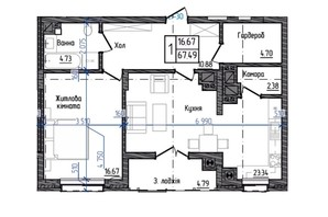 ЖК Престижний: планування 2-кімнатної квартири 67.49 м²