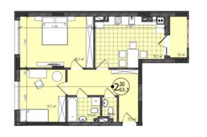 ЖК Престижный: планировка 2-комнатной квартиры 63.3 м²