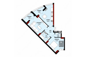 ЖК Президент Хол: планування 2-кімнатної квартири 67.17 м²
