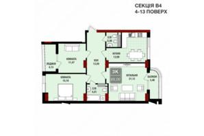 ЖК Президент Хол: планування 3-кімнатної квартири 89.08 м²
