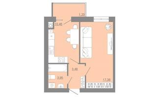 ЖК Проект Парк: планировка 1-комнатной квартиры 36.47 м²