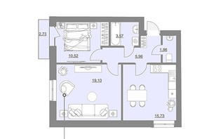 ЖК Проект Парк: планировка 2-комнатной квартиры 57.66 м²