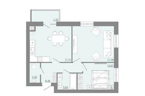 ЖК Проект Парк: планировка 2-комнатной квартиры 58.99 м²