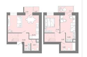 ЖК Проект Парк: планировка 3-комнатной квартиры 78.38 м²