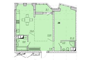 ЖК Прохоровський квартал: планування 2-кімнатної квартири 68.2 м²