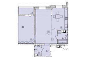 ЖК Прохоровський квартал: планування 2-кімнатної квартири 66.4 м²