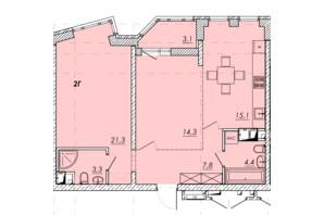 ЖК Прохоровський квартал: планування 2-кімнатної квартири 69.3 м²