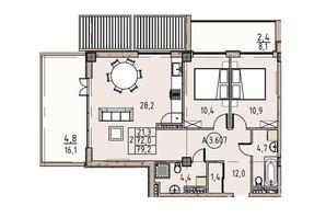 ЖК Пространство на Донского: планировка 2-комнатной квартиры 79.2 м²
