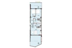 ЖК Пространство на Донского: планировка 2-комнатной квартиры 77.1 м²