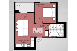 ЖК Provance Home: планування 1-кімнатної квартири 37.3 м²