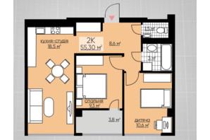 ЖК Provance Home: планування 2-кімнатної квартири 55.3 м²