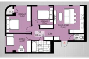 ЖК Provance Home: планування 3-кімнатної квартири 68.4 м²