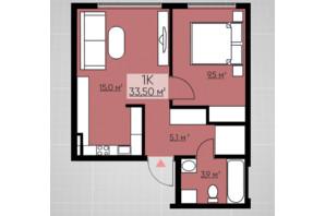 ЖК Provance Home: планировка 1-комнатной квартиры 33.5 м²