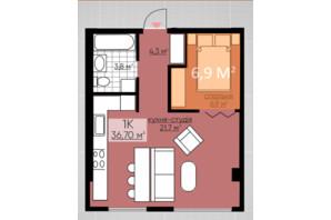 ЖК Provance Home: планировка 1-комнатной квартиры 36.7 м²
