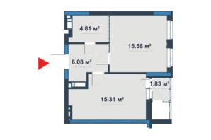 ЖК «Причал 8»: планировка 1-комнатной квартиры 44.4 м²