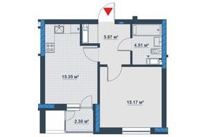 ЖК «Причал 8»: планировка 1-комнатной квартиры 44.05 м²