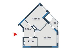 ЖК «Причал 8»: планировка 1-комнатной квартиры 42.11 м²