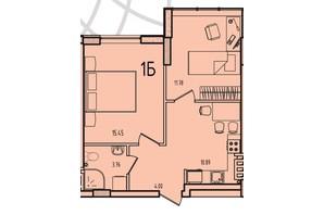 ЖК Приморські Сади: планування 1-кімнатної квартири 45.89 м²