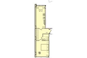 ЖК Приморські Сади: планування 1-кімнатної квартири 38.2 м²