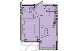 ЖК Приморські Сади: планування 1-кімнатної квартири 42.7 м²