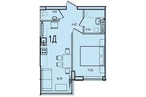 ЖК Приморські Сади: планування 1-кімнатної квартири 39.06 м²