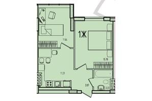 ЖК Приморські Сади: планування 1-кімнатної квартири 46.04 м²