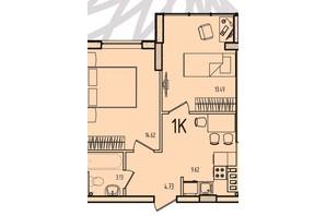ЖК Приморські Сади: планування 1-кімнатної квартири 44.6 м²