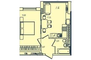 ЖК Приморські Сади: планування 1-кімнатної квартири 36.67 м²