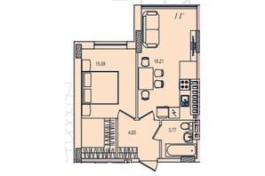 ЖК Приморські Сади: планування 1-кімнатної квартири 42.66 м²