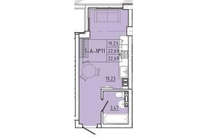 ЖК Приморські Сади: планування 1-кімнатної квартири 22.69 м²