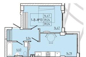 ЖК Приморські Сади: планування 1-кімнатної квартири 39.24 м²