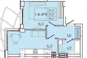 ЖК Приморські Сади: планування 1-кімнатної квартири 39.21 м²