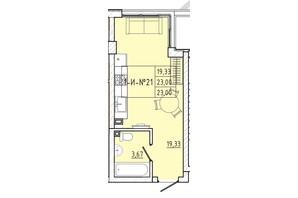 ЖК Приморські Сади: планування 1-кімнатної квартири 23 м²