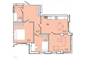 ЖК Приморські Сади: планування 3-кімнатної квартири 67.93 м²