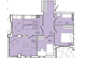 ЖК Приморські Сади: планування 3-кімнатної квартири 62.9 м²