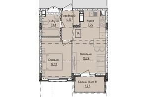 ЖК Приморські Сади: планування 1-кімнатної квартири 36 м²