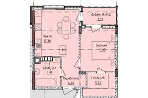 ЖК Приморські Сади: планування 1-кімнатної квартири 40.2 м²